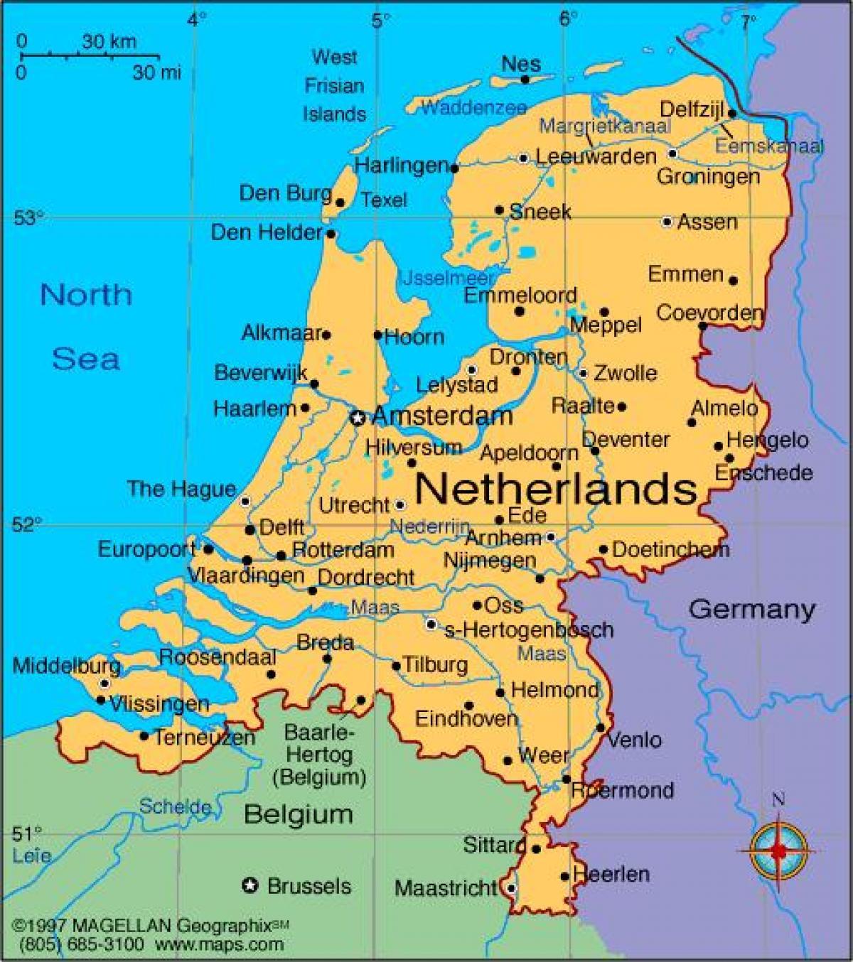 Alankomaiden Kaupungeissa Kartta Kartta Alankomaiden