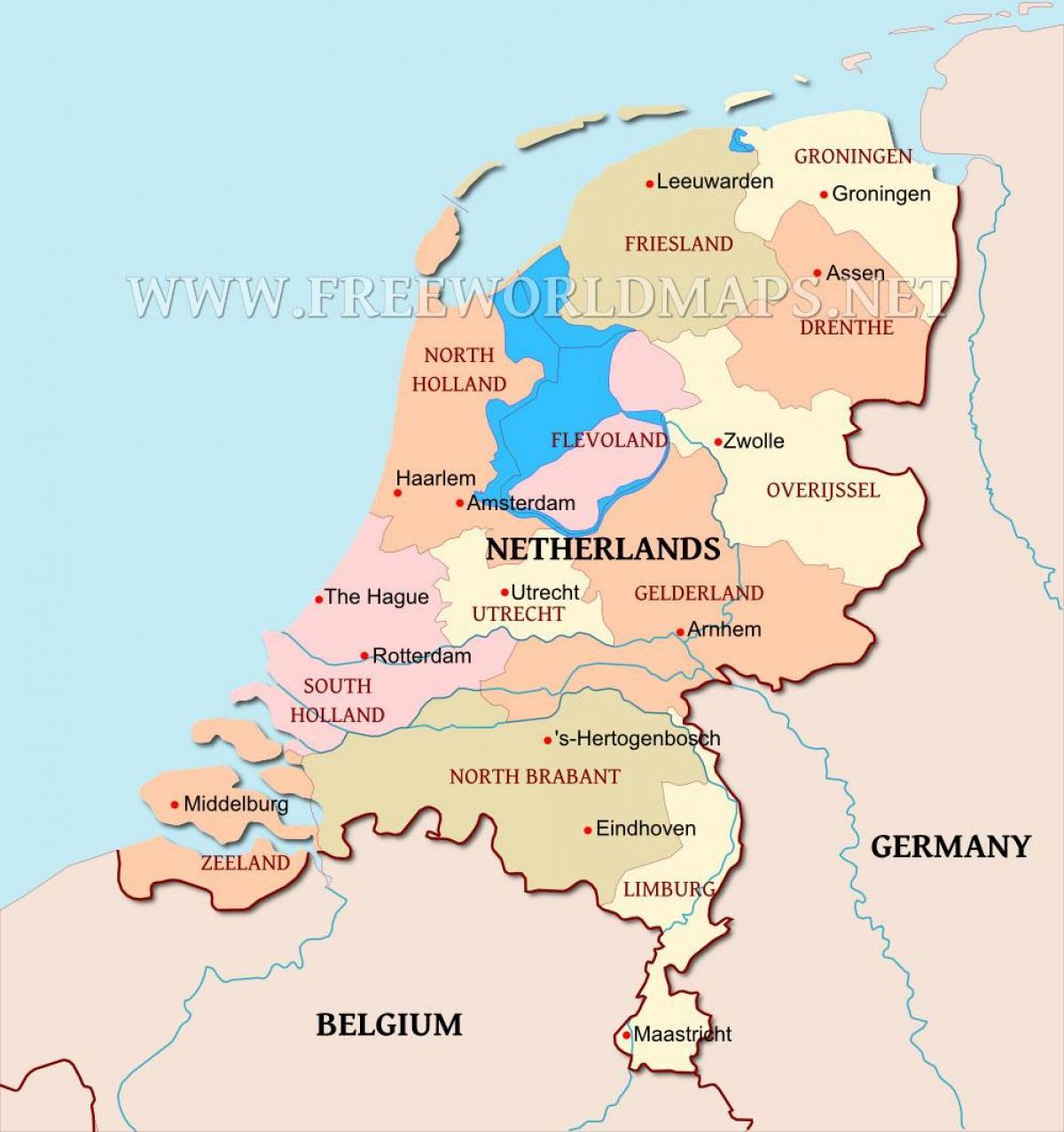 Hollanti Kartta Alankomaat Kartalla Lansi Eurooppa Eurooppa