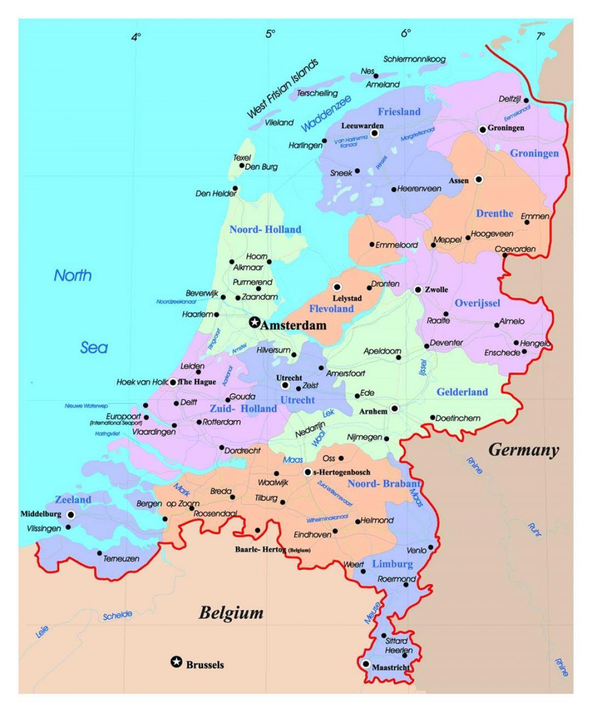 Kartta Hollanti Holland Kartalla Lansi Eurooppa Eurooppa
